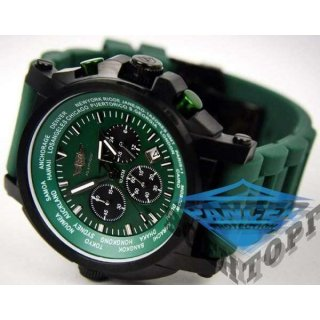 Часы FLIEGER  Авиатор хронограф, зеленые