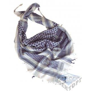 Шарф-шемаг арафатка белый/синий хлопок (110х110 см)