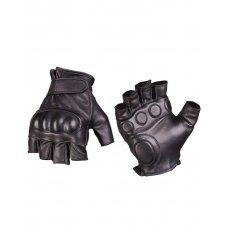 Тактические беспалые перчатки черные кожа МИЛ ТЕК Германия