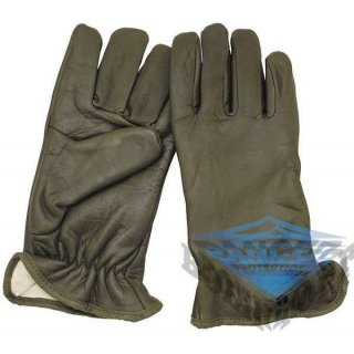 Кожаные перчатки Franz . Leather gloves with lining, olive, neuw .