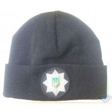 Вязаная шапка полиции черная