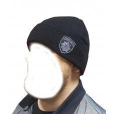 Шапка полиции шеврон черная