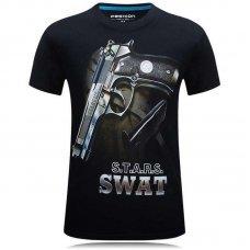 Футболка черная с принтом Пистолет