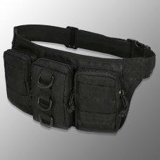 Сумка поясная с тремя карманами черная
