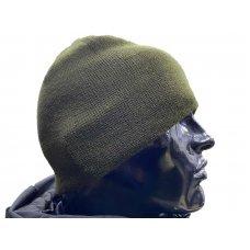 Вязаная шапка олива бортик