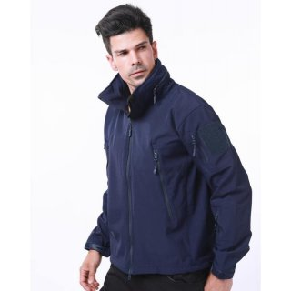 Куртка Soft Shell темно синяя  прячущий капюшон ESDY