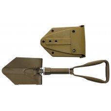 Складная лопата военного образца с алюминиевой ручкой и чехлом койот MFH